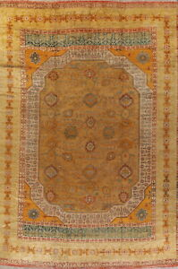 Pre-1900 Antique Vegetable Dye Gold Oushak Turkish Oriental Area Rug Wool 14x19