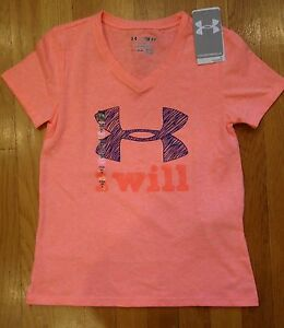 NWT UNDER ARMOUR SHIRT CHARGED COTTON GIRLS YOUTH SMALL MEDIUM $11.99