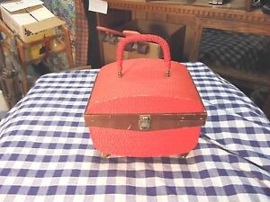 vintage singer sewing case red weave pattern wooden legs bit rough $9.99