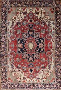 Vegetable Dye Antique Geometric Oriental Hand-Knotted 13x19 Red Rug