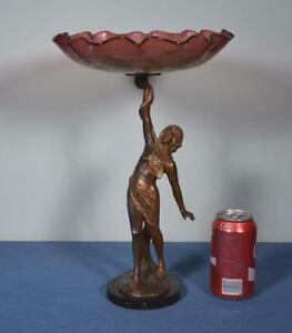 *French Antique Sculpture Bronzed Spelter with Glass Bowl Serving Dish $565.00