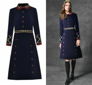 2019 Womens Embroidery Army Style OL Summer High-end Button Runway Elegant Dress