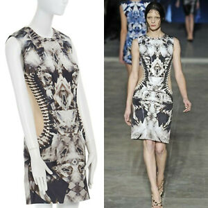 runway ALEXANDER MCQUEEN SS09 silver kaleidoscope skeleton illusion mesh dress M