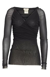 NEW FUZZI Black Surplice V-Neck Wrap Ruched Long Sleeve Mesh Tulle Stretch Top S