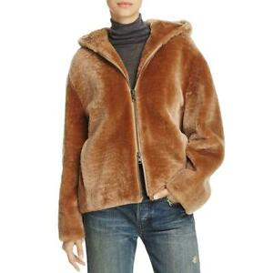 Vince Womens Brown Fall Shearling Fashion Zip-Front Hoodie Outerwear S BHFO 7123