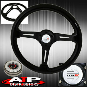 Gunmetal Slim Quick Release w Deep Dish Steering Wheel Black Wood Black Center