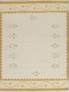 Hand-Woven Contemporary Flat-Weave Ivory Kilim Dhurrie Oriental Area Rug 6x8
