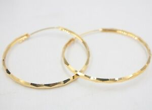 Au750 Fine 18K Yellow Gold Earrings Woman 3mmW Lucky Big Hoop 45mmDia Carved New