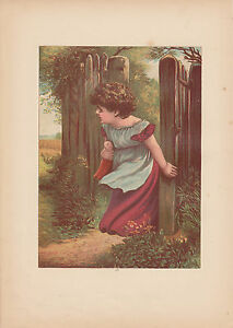 Victorian Girl with Beloved Doll Lithograph Antique Art Print 1885 $8.95