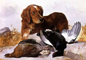 Oil painting george w. horlor a settler with game birds in a highland landscape