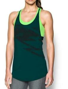 NWT Under Womens HeatGear Armour 2 in 1 Printed Tank UA Large Arden Gren Lime $32.97