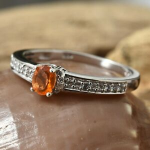 Salamanca Fire Opal Cambodian Zircon Platinum Over Sterling Silver Ring Size 6