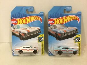 Hot Wheels pair Gulf '68 Chevy Nova Cars, Paint Variations FREE shipping!