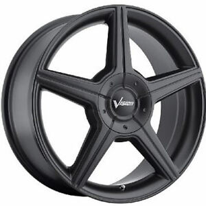 Vision Autobahn 17x7 4x1004x108 (4x4.25) +40mm Matte Black Wheels Rims