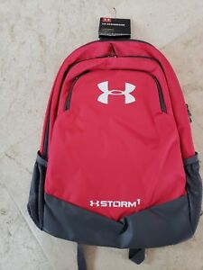 UNDER ARMOUR UA SCRIMMAGE STORM 1 REDPINKGRAY BACKPACK WATER RESISTANT $54NWT