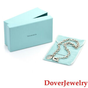 Tiffany & Co. Sterling Silver Chain Heart Pendant Necklace Box 74.4 Grams NR