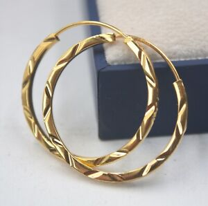 Real 18K Yellow Gold Big Hoop Earrings Set AU750 Women's Jewelry Carved Line