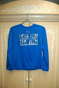 NEW UNDER ARMOUR BLUE YLG LG L HEAT GEAR BOYS LONG SLEEVE SHIRT HERE FOR THE WIN