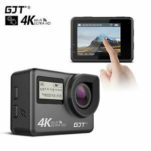 GJT 4K Touchscreen Action Camera WiFi Dual Screen 12MP HD Waterproof Camcorder