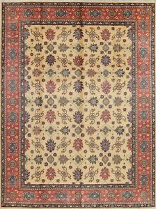 New Geometric Kazak Hand-Knotted IVORY Oriental Area Rug Wool Carpet 9'x12'