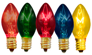 C 7 MULTI COLOR CLEAR TWINKLE BULBS 2 BOXES OF 25 REPLACEMENT LIGHT BULBS ONLY