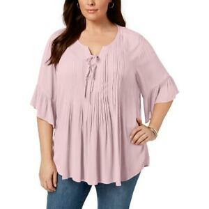 Style & Co. Womens Pink Boho Lace Up Blouse Peasant Top Shirt Plus 1X BHFO 2596