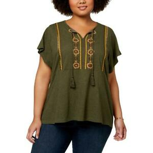 Style & Co. Womens Green Embroidered Peasant Top Shirt Plus 3X BHFO 0960
