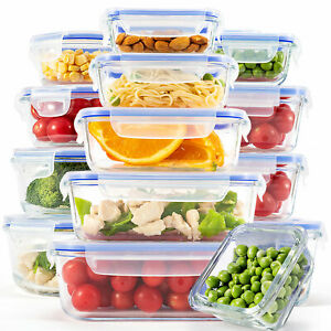 [15-Pack] Glass Food Storage Containers with Lids, Meal Prep Lunch Container Set