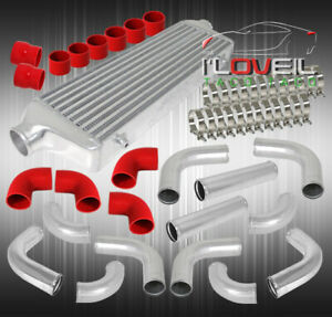 Fmic Front Mount Turbo Intercooler+3Inch Piping Kit Polish Pipe+Red Coupler