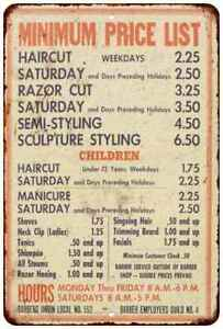 Old Barber Price List Vintage Retro Reproduction 8x12 Metal Sign 108120067139