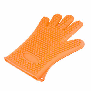 BBQ Grilling Gloves Oven Mitts for Cooking Baking Barbecue Potholder Orange