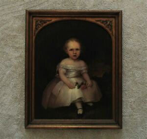 19th c. Portrait Painting Child Oil on Board Antique Victorian