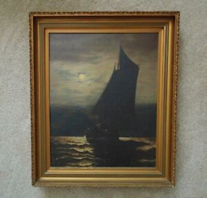 Antique Portrait Painting Ship Sailing in Moonlight Oil on Canvas Nautical  $1,249.00