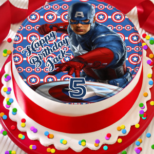 CAPTAIN AMERICA HAPPY BIRTHDAY PERSONALISED 7.5 INCH EDIBLE CAKE TOPPER B-020G