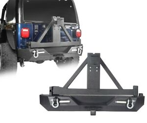 Rear Bumper wTire Carrier & Receiver Hitch for Jeep Wrangler YJ TJ 87-06(Black)