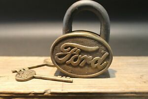 Antique Vintage Style Brass amp; Iron Trunk Chest Box Ford Lock Padlock $48.00