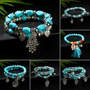 Boho Men Women Natural Turquoise Beads Bracelet Shell Tassels Pendant Bangle NEW