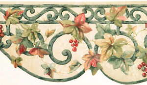 Tuscan Tuscany Ivy Vine Berry Green Wrought Iron Scroll Kitchen Wallpaper Border