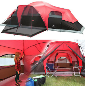 Large Outdoor Camping Tent 10 Person 3 Room Cabin Screen Porch Waterproof Red