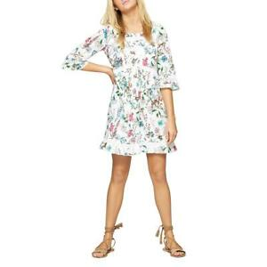 Sanctuary Womens Ellie White Floral Print Boho Ruffled Casual Dress L BHFO 7653