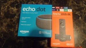 Amazon Fire TV Stick 4K HD Media Streamer - Black bundle with Echo Dot(3rd Gen)