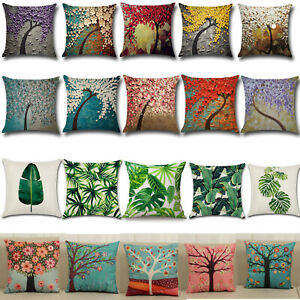 Tropical Planted Floral Tree Cotton Linen Pillow Case Throw Cushion Covers Decor