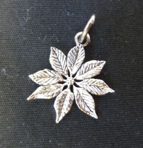 Very Rare Retired Sterling 925 Silver James Avery Poinsettia charm