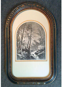 1873 framed John W Casilear engraving: THE TROUT BROOK Catskillls fly fishiing