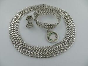 TNC Mexico Sterling Silver 925 Choker Necklace Bracelet w Taxco Charm Earrings