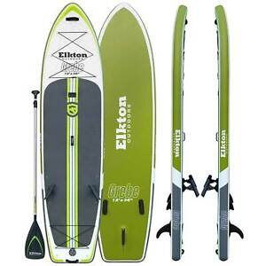 Elkton Outdoors 12' Inflatable Fishing Paddle Board Kit WIth 2 Fishing Rod Holde