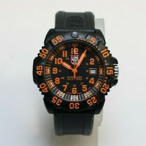LUMINOX 200M NAVY SEAL ORANGE COLORMARK DATE SWISS QUARTZ WATCH 3059.L 44MM $395