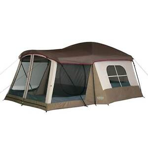 Wenzel Klondike 8 Person Large Outdoor Camping Tent w Screen Room Brown $189.99