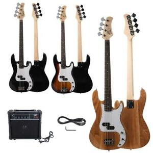 New Black Sunset Natural Blue Basswood 4 Strings Electric Guitar Bass W 20W AMP