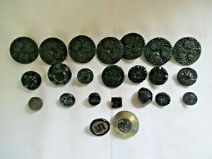 23 Antique Black Glass Buttons Set of 7 Three Leaf Clover - Horse Head -Stars NR